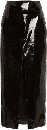 David Koma Front Split Patent Leather Skirt