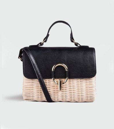 Black Straw Cross Body Bag   New Look