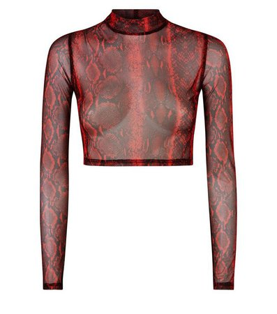 Red Snake Print Mesh Crop Top | New Look