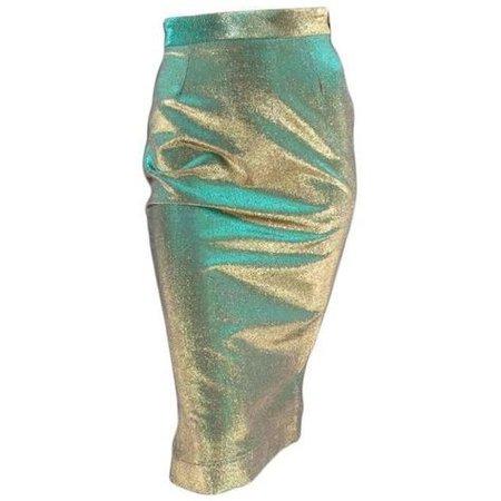 metallic blue gold Vivienne Westwood skirt