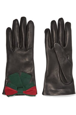 Gucci | Bow-embellished textured-leather gloves | NET-A-PORTER.COM