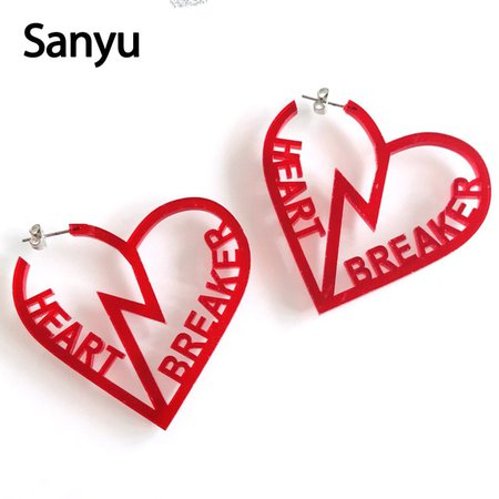 Creative Funny Hollow Out Two Pieces of Break Heart Hollow Out Red Acrylic Drop Earrings for Female Cool Punk Dangle Earrings-in Drop Earrings from Jewelry & Accessories on Aliexpress.com   Alibaba Group