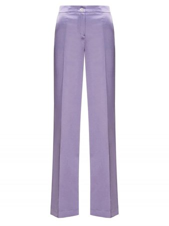 LONG LILAC SATIN TROUSERS