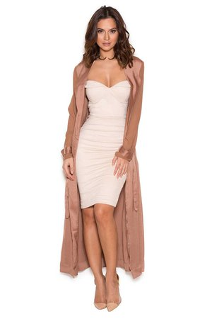 House of CB - Coryn Rose Gold Silky Duster Coat