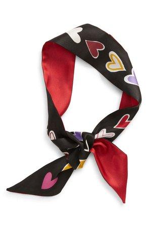 kate spade new york dancing hearts reversible silk skinny scarf | Nordstrom