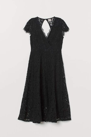Lace V-neck Dress - Black