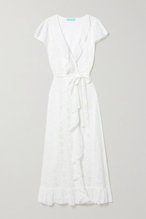 Brianna Belted Ruffled Broderie Anglaise Cotton Wrap Maxi Dress - White