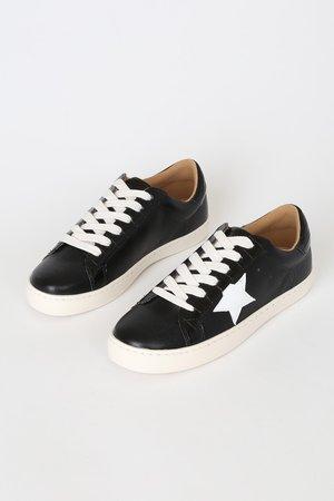 Cute Black Sneakers - Black Star Sneakers - Sneakers
