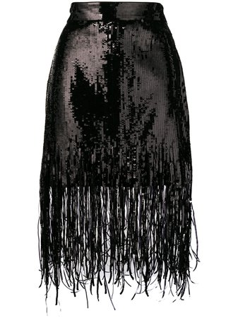 MSGM Sequin Fringed Skirt - Farfetch