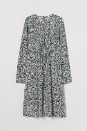 MAMA Puff-sleeved Dress - Blue