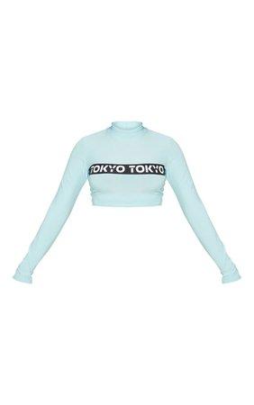 Baby Blue Tokyo Slogan Long Sleeve Crop Top