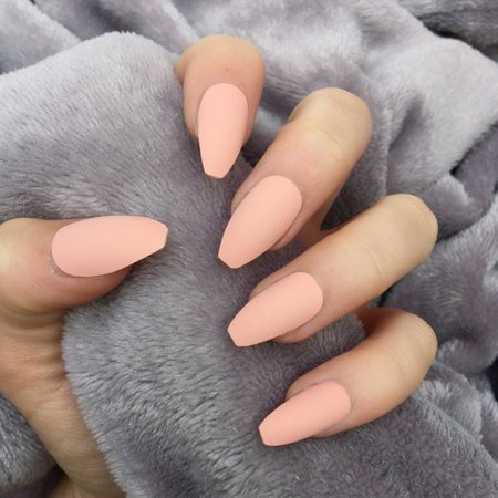 Peach Matte Coffin – Doobys Nails
