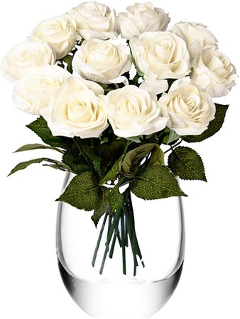 Feyarl 12-Piece 17.4 inch Premium Material Real Touch Artificial Flowers Roses for Wedding Party Home Decorations (Vase is not Included) - White: Amazon.ca: Home & Kitchen