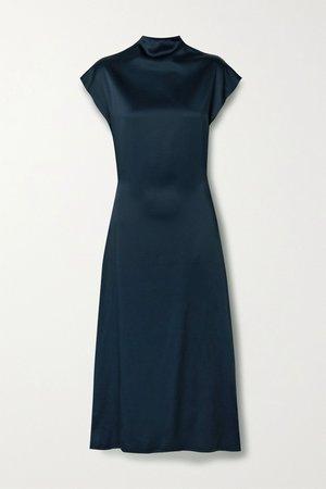 Midnight blue Rozinne satin-crepe midi dress | GAUCHERE | NET-A-PORTER
