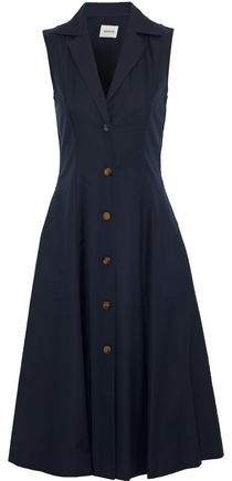 Marilyn Button-detailed Cotton-twill Midi Dress