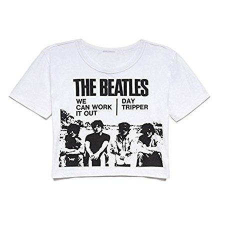Darceil Women's White Round Neck Short Sleeve the Beatles Print Crop Top T Shirt