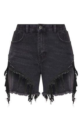Washed Black Distressed Denim Shorts | Denim | PrettyLittleThing