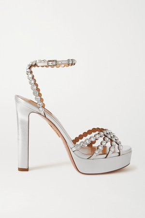 Tequila Plateau 120 Crystal-embellished Metallic Leather Platform Sandals - Silver