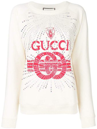 embellished logo print sweatshirt