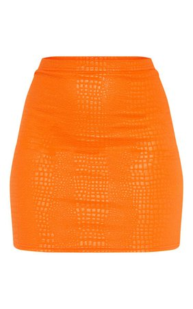 Orange Croc Print Bodycon Mini Skirt | PrettyLittleThing USA