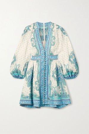 Blue Bells paisley-print linen mini dress   Zimmermann   NET-A-PORTER