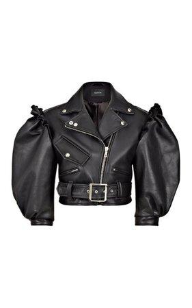 Puff-Sleeve Cropped Leather Biker Jacket By Simone Rocha | Moda Operandi