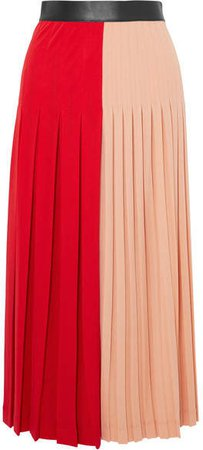 Color-block Pleated Stretch-jersey Midi Skirt - Red