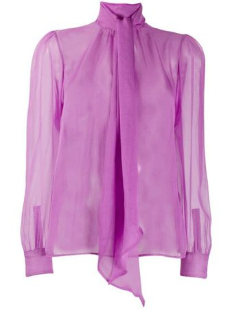 Saint Laurent pussy-bow Sheer Silk Blouse - Farfetch