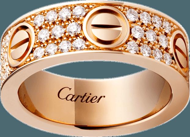 CRB4087600 - LOVE ring, diamond-paved - Pink gold, diamonds - Cartier