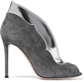 Vamp Suede And Metallic Leather Ankle Boots
