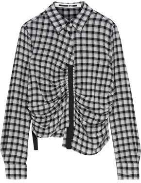 Asymmetric Ruched Gingham Flannel Shirt