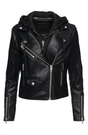 BLANKNYC Faux Leather Moto Jacket with Removable Hood | Nordstrom