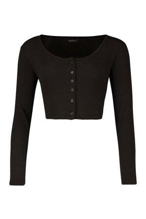Rib Button Through Long Sleeve Crop Top | Boohoo