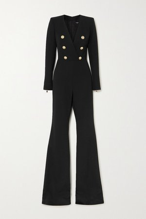 Button-embellished Wool-twill Jumpsuit - Black