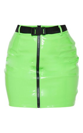 *clipped by @luci-her* Petite Neon Green Vinyl Zip Front Belt Mini Skirt | PrettyLittleThing USA