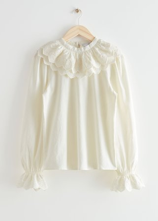 Embroidered Statement Collar Blouse - White - Blouses - & Other Stories