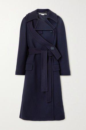 Navy Belted double-breasted wool coat | Stella McCartney | NET-A-PORTER