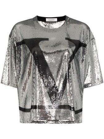 Valentino VLOGO Sequinned T-shirt - Farfetch