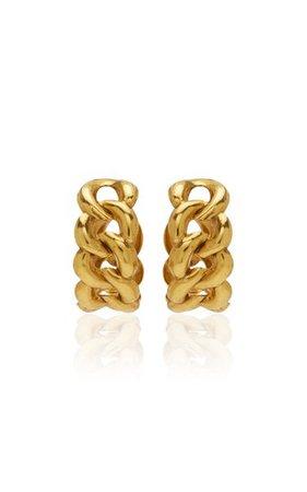 Tara Plated Brass Hoops By Jennifer Behr | Moda Operandi