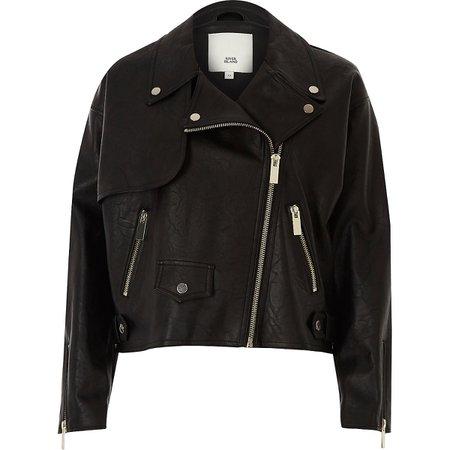 river island leather black jacket
