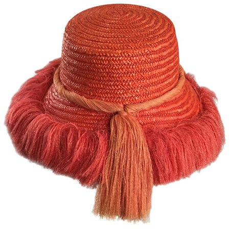 1960s Rare Italian Coral Orange and Pink Vintage Raffia