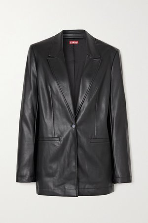 Black Madden vegan leather blazer | STAUD | NET-A-PORTER