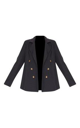 Black Woven Oversized Button Down Blazer   PrettyLittleThing