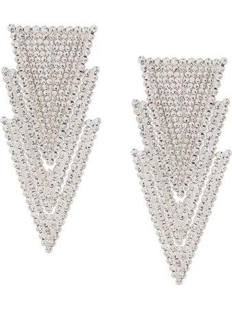 Alessandra Rich crystal-embellished triangle-drop Earrings - Farfetch
