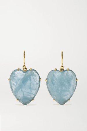Gold Love 18-karat gold aquamarine earrings   Irene Neuwirth   NET-A-PORTER