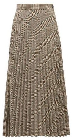 Glen Plaid Pleated Midi Skirt - Womens - Beige
