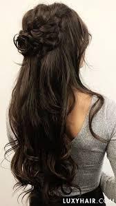 brown hairstyles - long half up