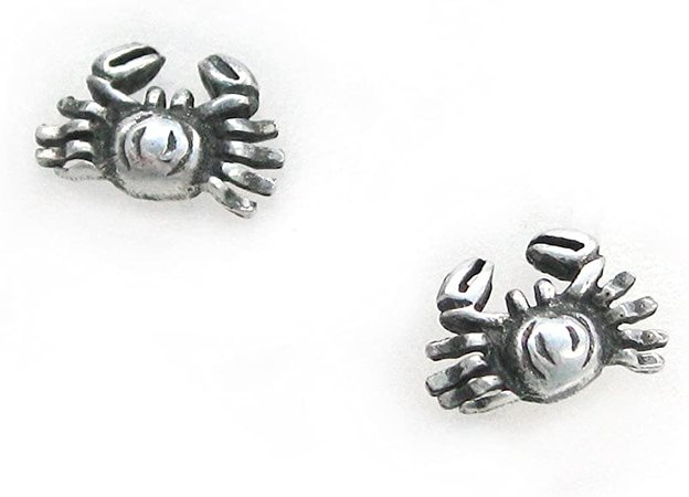 Amazon.com: Sterling Silver Crab Crabby Stud Post Earrings: Clothing
