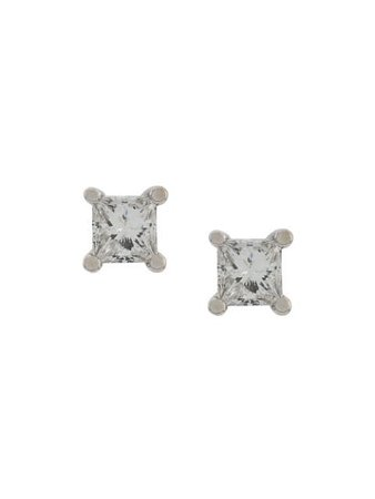 Delfina Delettrez 18Kt White Gold Dots Solitare Princess Diamond Stud Earrings SQUAREPAIRWG Silver | Farfetch