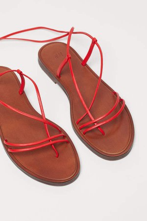 Leather Sandals - Red